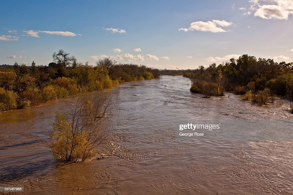 The Russian River hits flood stage near downtown after a five-day storm on December 2, 2012, in Healdsburg, California. More than a 18 inches of rain has fallen in California's Wine Country during the past five days. Forecasters are calling it 'The Pineapple Express,' or a 'river of moisture.'