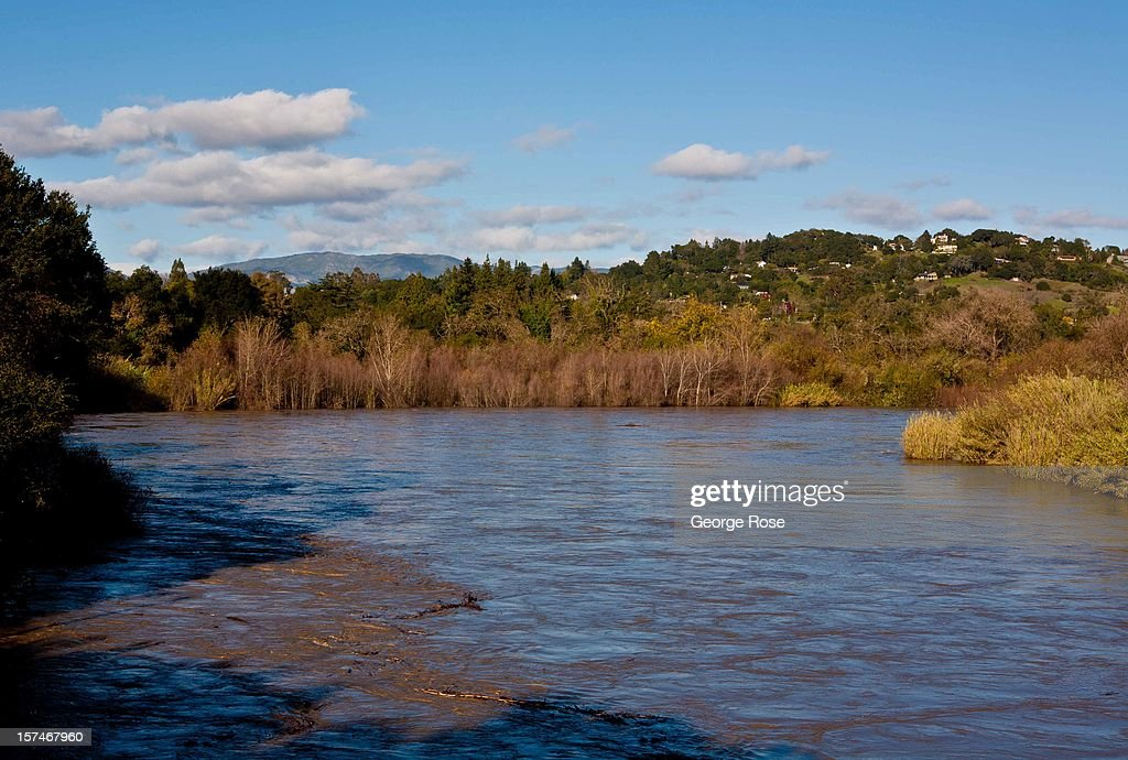 The Russian River hits flood stage near downtown after a relentess five-day storm on December 2, 2012, in Healdsburg, California. More than a 18 inches of rain has fallen in California's Wine Country during the past five days. Forecasters are calling it 'The Pineapple Express,' or a 'river of moisture.'