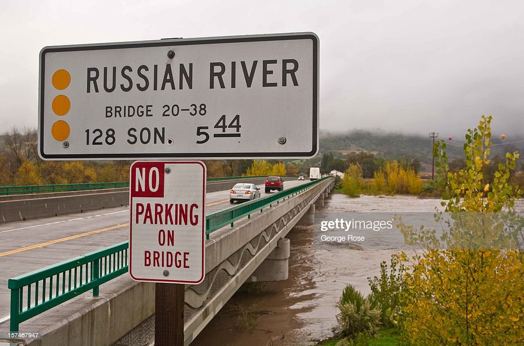 The Russian River is just at the bottom of the Geyserville Bridge during a five-day storm December 2, 2012, in Healdsburg, California. More than a 18 inches of rain has fallen in California's Wine Country during the past five days. Forecasters are calling it 'The Pineapple Express,' or a 'river of moisture.'