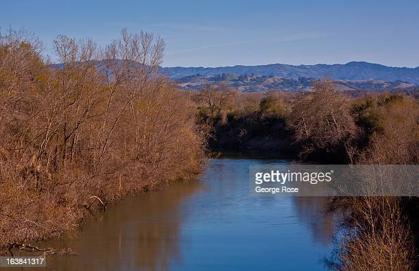 The Russian River winds its way through the Riverfront Regional Park on February 24 near Healdsburg California Sonoma County along with Napa Valley...