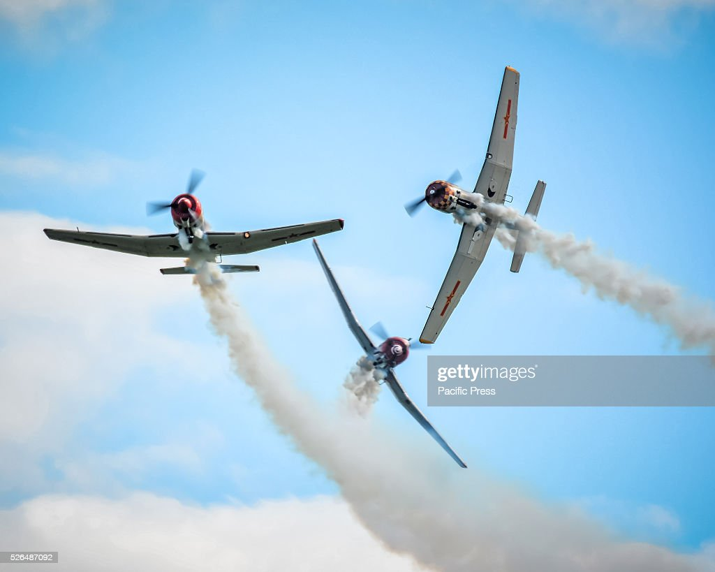 The Russian Roolettes display their YAK Nanchang and YAK52 Aerobatic Warbirds at the annual 'Wings Over Illawarra' Airshow at the Illawarra Regional Airport.