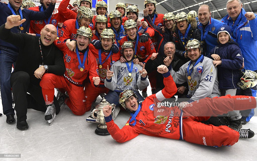 The Russian team celebrate their 4-3 victory in the Bandy World Championship final match Sweden vs Russia in Vanersborg, Sweden, February 3, 2013.