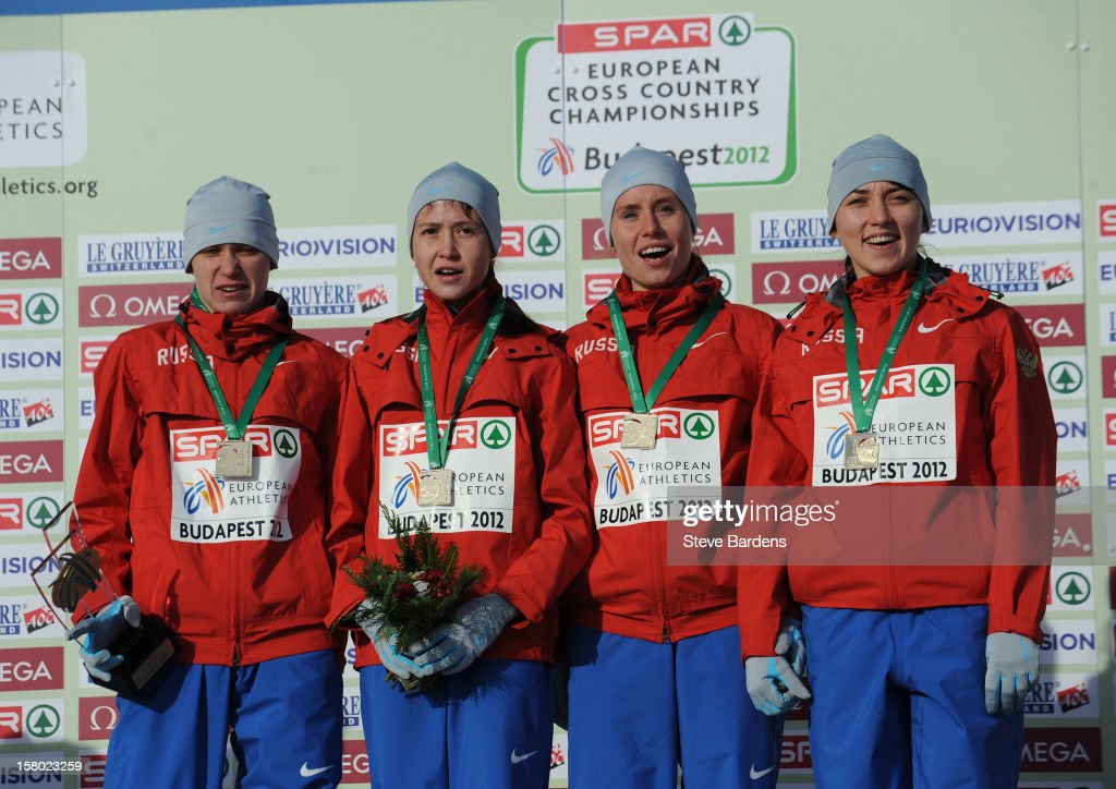 The Russian team celebrate with their gold medals after winning the U23 Women's race during the 19th SPAR European Cross Country Championships on December 9, 2012 in Budapest, Hungary.