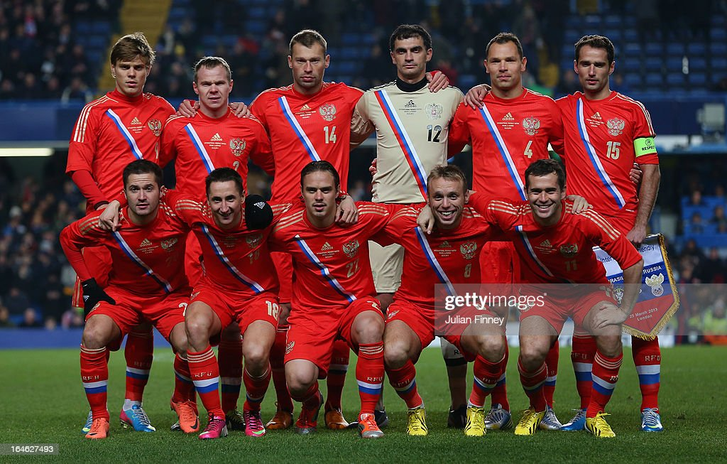 The Russian team line up during the International Friendly match between Russia and Brazil at Stamford Bridge on March 25, 2013 in London, England.
