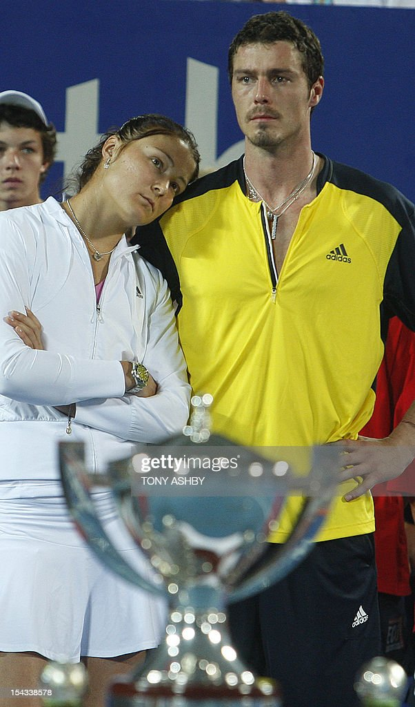 The Russian team of Marat Safin and his sister Dinara Safina at the presentation ceremony after losing the Hopman Cup final to Dominik Hrbaty and Dominika Cibulkova of the Slovak Republic in Perth on January 9, 2009. The Slovak Republic won their third Hopman Cup here Friday, beating Russia 2-0 in the final of the mixed teams tournament. Tony ASHBY