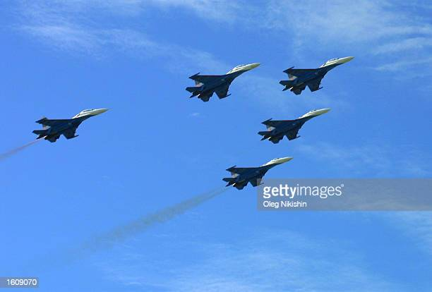 The Russian Warriors air force aerobatic squadron perform during a demonstration at the Moscow International Air Show August 14 2001 in Zhukovsky...