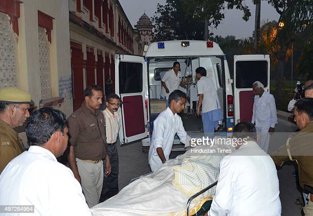 The Russian woman after an alleged acid attack carried into an ambulance before being shifted to Delhi from Sir Sunderlal Hospital BHU on November 14...