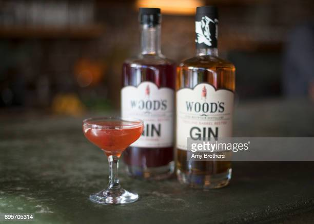 The Rusted Rose cocktail made with barrel rusted gin rosemary and raspberry simple syrup at Woods High Mountain Distillery on March 7 2017 in Salida...