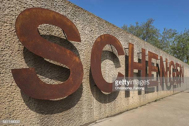 The rusting Schengen sign at the dock where the 1985 European Schengen Agreement was signed on May 11 2016 in Schengen Luxembourg The Schengen...