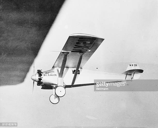 The Ryan Monoplane 'Spirit of St Louis' in a test flight over San Diego piloted by Captain Charles Lindbergh who will hop from the west coast of the...