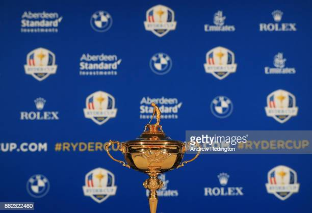 The Ryde Cup trophy on display prior to a Ryder Cup 2018 Year to Go Captains Press Conference at the Pullman Paris Tour Eiffel Hotel on October 17...