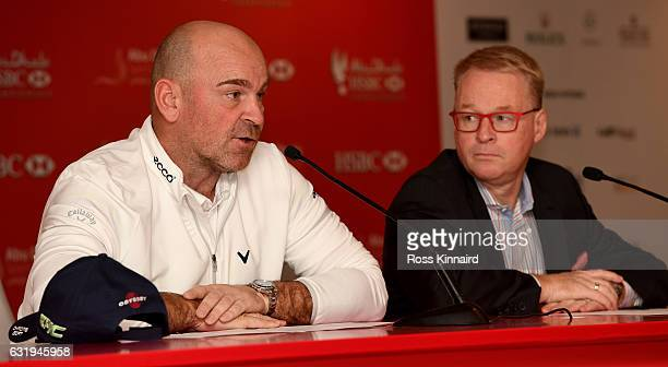 The Ryder Cup Captain Thomas Bjorn and European Tour Chief Executive Keith Pelley talking to the media during the proam event prior to the Abu Dhabi...