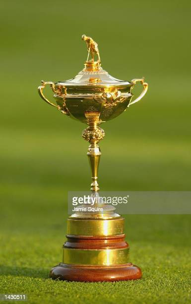 The Ryder Cup trophy during the second practice round for the 34th Ryder Cup at the De Vere Belfry in Sutton Coldfield England on September 25 2002
