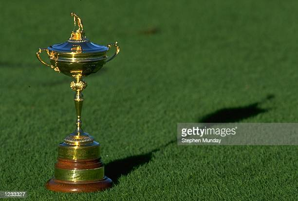 The Ryder Cup trophy on display at Oak Hill GC in Rochester New York Mandatory Credit Stephen Munday /Allsport