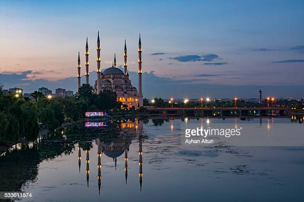 The Sabanci Central Mosque and Seyhan River at blue hour,Adana,Turkey