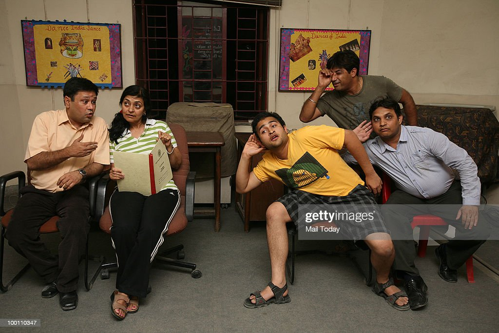 The Sabrang Theatre group rehearses for the play Jaat Hi Poochcho Sadhu Ki directed by Sanjeev Johri New Delhi on May 19, 2010.