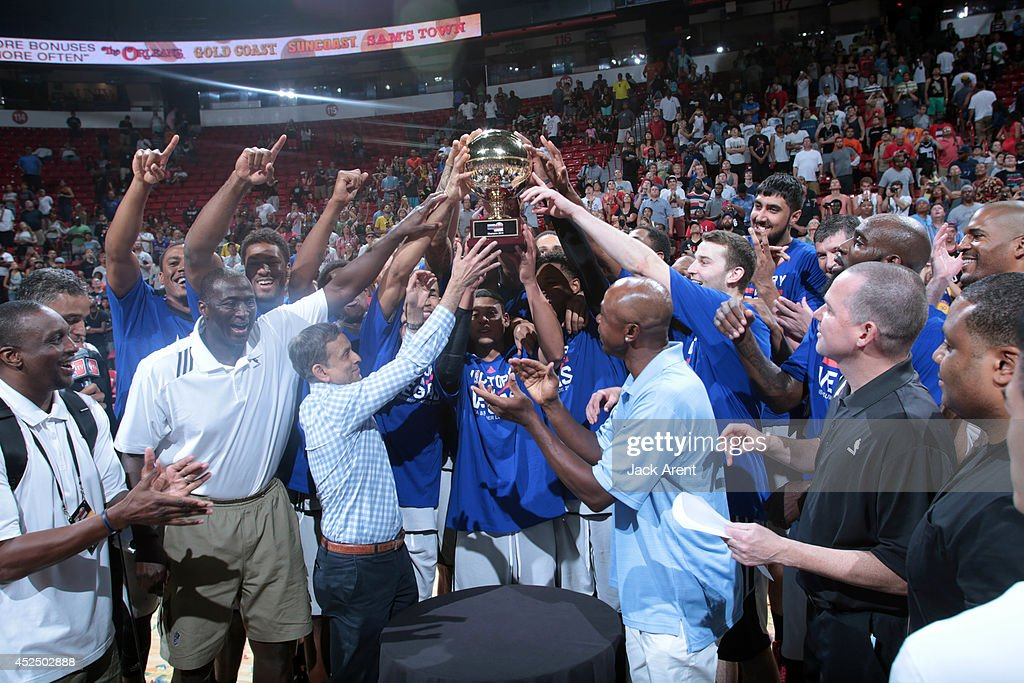 The Sacramento Kings celebrate after winning against the Houston Rockets during the Samsung NBA Summer League 2014 on July 21, 2014 at the Thomas & Mack Center in Las Vegas, Nevada.