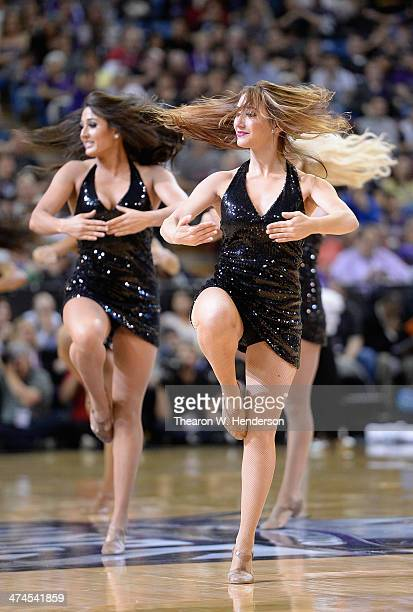 The Sacramento Kings cheerleaders 'Kings Dancers' perform during an NBA Basketball game against the Boston Celtics at Sleep Train Arena on February...