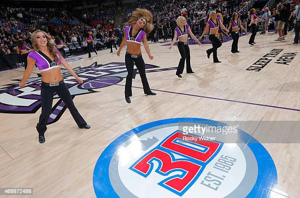 The Sacramento Kings dance team excites the crowd against the Los Angeles Lakers on April 13 2015 at Sleep Train Arena in Sacramento California NOTE...