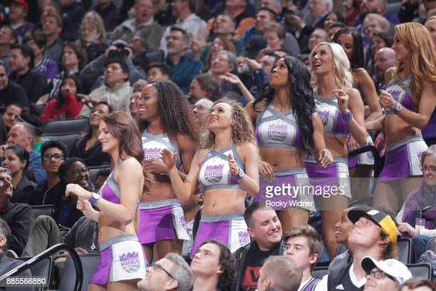 The Sacramento Kings dance team looks on during the game against the Milwaukee Bucks on November 28 2017 at Golden 1 Center in Sacramento California...