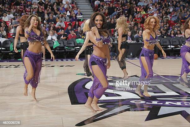 The Sacramento Kings dance team perform during the game between the Los Angeles Clippers and Sacramento Kings on January 17 2015 at Sleep Train Arena...