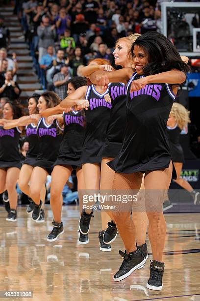 The Sacramento Kings dance team performed during the game against the Los Angeles Clippers on October 28 2015 at Sleep Train Arena in Sacramento...