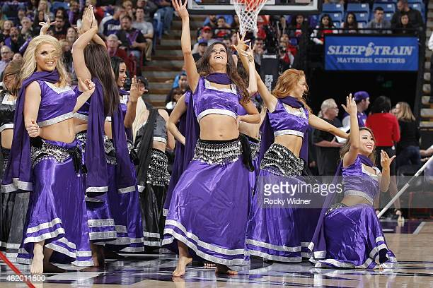 The Sacramento Kings dance team performs during the game against the Los Angeles Clippers on January 17 2015 at Sleep Train Arena in Sacramento...