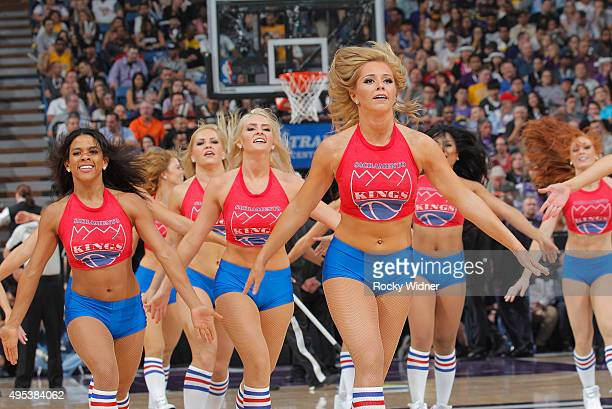 The Sacramento Kings dance team performs during the game against the Los Angeles Lakers on October 30 2015 at Sleep Train Arena in Sacramento...