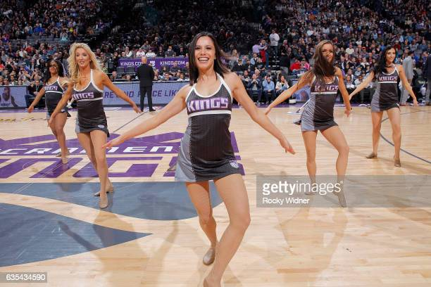 The Sacramento Kings dance team performs during the game against the New Orleans Pelicans on February 12 2017 at Golden 1 Center in Sacramento...