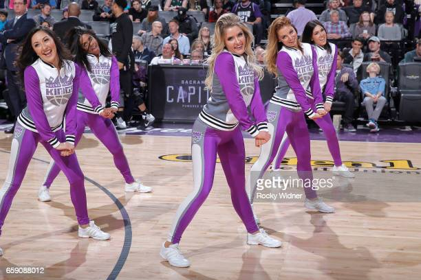 The Sacramento Kings dance team performs during the game against the Milwaukee Bucks on March 22 2017 at Golden 1 Center in Sacramento California...
