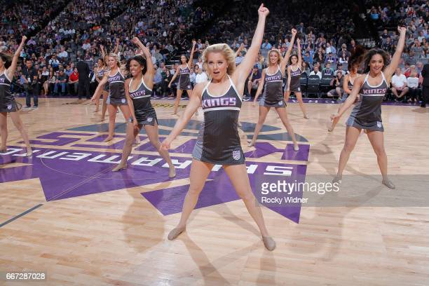 The Sacramento Kings dance team performs during the game against the Dallas Mavericks on April 4 2017 at Golden 1 Center in Sacramento California...
