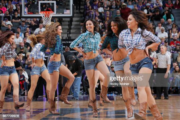 The Sacramento Kings dance team performs during the game against the Houston Rockets on April 9 2017 at Golden 1 Center in Sacramento California NOTE...