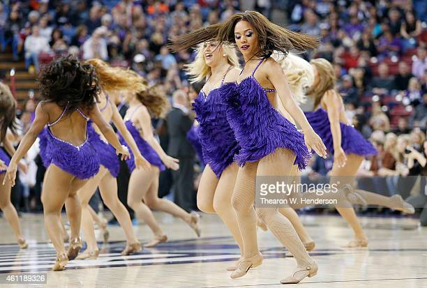The Sacramento Kings Dancers performs against the Oklahoma City Thunder at Sleep Train Arena on January 7 2015 in Sacramento California
