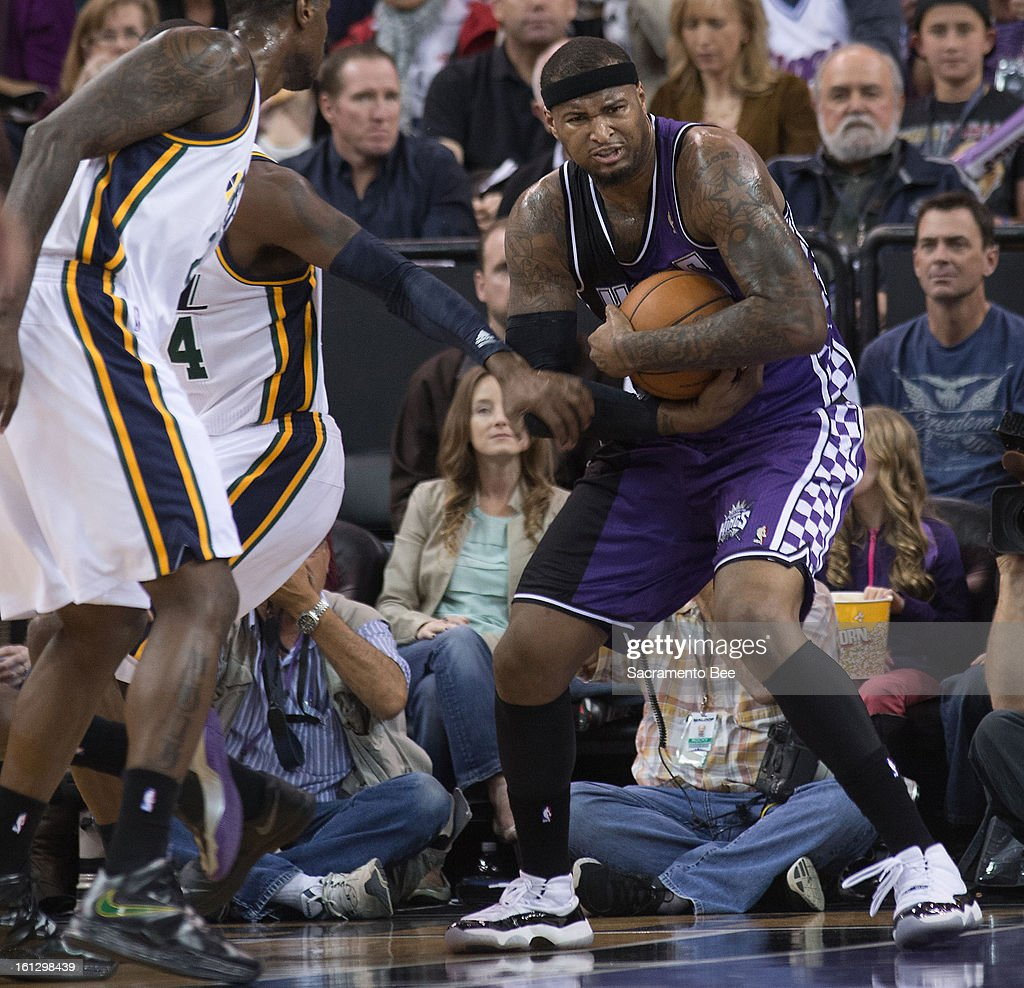 The Sacramento Kings' DeMarcus Cousins secures a rebound against the Utah Jazz at Sleep Train Arena in Sacramento, California, on Saturday, February 9, 2013.