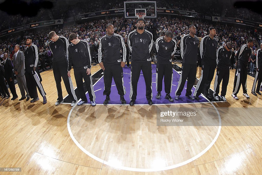 The Sacramento Kings during the national anthem of the game against the Los Angeles Clippers on April 17, 2013 at Sleep Train Arena in Sacramento, California.