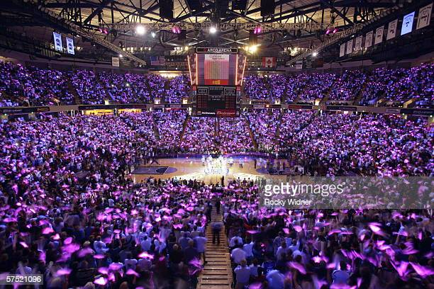 The Sacramento Kings get ready to take on the San Antonio Spurs in game four of the Western Conference Quarterfinals during the 2006 NBA Playoffs at...