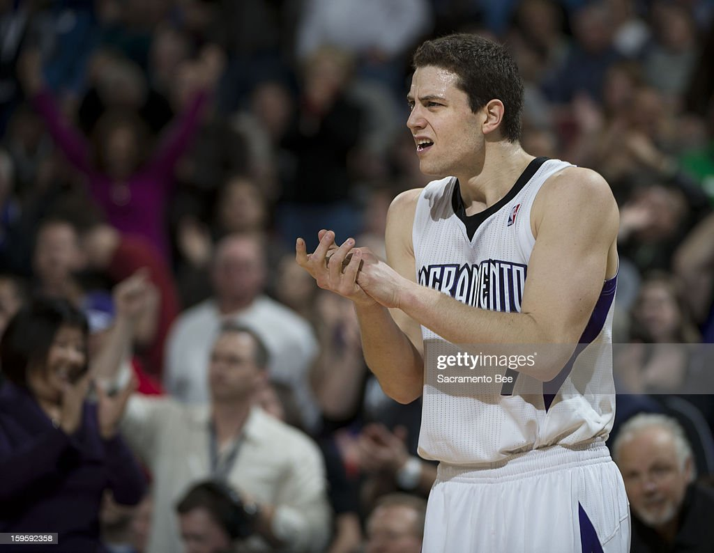 The Sacramento Kings' Jimmer Fredette celebrates a turnover by the Washington Wizards in the second half at Sleep Train Arena in Sacramento, California, on Wednesday, January 16, 2013.