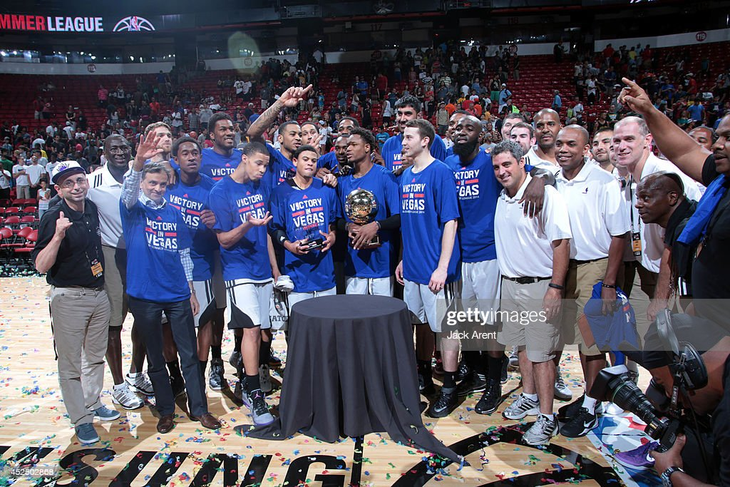 The Sacramento Kings pose for a picture after winning against the Houston Rockets during the Samsung NBA Summer League 2014 on July 21, 2014 at the Thomas & Mack Center in Las Vegas, Nevada.
