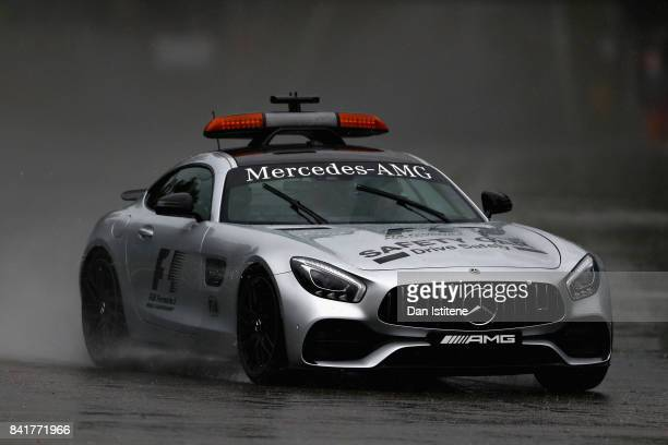 The Safety Car drives in the rain on track during final practice for the Formula One Grand Prix of Italy at Autodromo di Monza on September 2 2017 in...