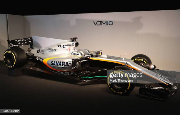 The Sahara Force India Formula One team unveil its 2017 car the VJM10 at Silverstone on February 22 2017 in Northampton England