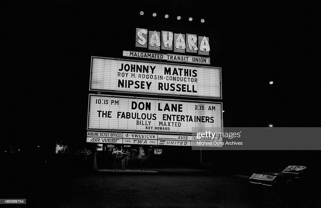 The Sahara Hotel marquee promoting singer Johnny Mathis performing live in the Congo Room on September 9 1971 in Las Vegas Nevada