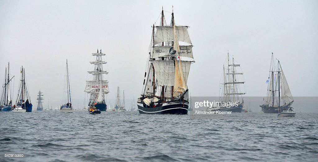 The sailing ship 'Thor Heyerdahl' (c) sails out of the Bay of Kiel during the annual Windjammer parade on June 25, 2016 in Kiel, Germany. The annual Tall Ships Parade, in which many of the world's largest traditional sailing ships participate, is the highlight of the Kieler Woche (Kiel Week), the world's biggest regatta and sailing event.