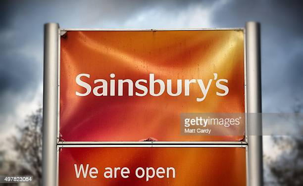 The Sainsbury's sign is displayed outside a branch of the supermarket on November 18 2015 in Bristol England As the crucial Christmas retail period...