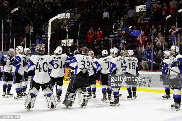 The Saint John Sea Dogs salute the crowd after losing 63 to the Erie Otters on May 26 2017 during the semifinal game of the Mastercard Memorial Cup...