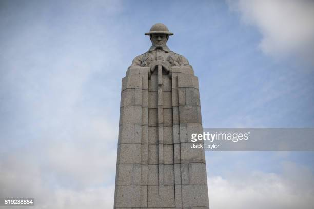 The Saint Julien Canadian war memorial also known as the 'Brooding Soldier' statue stands against the blue sky on April 5 2017 in SaintJulien Belgium...