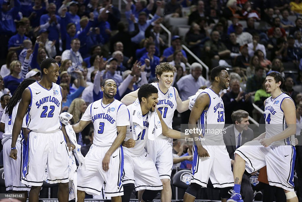 The Saint Louis Billikens bench celebrates in the final moments of their 64 to 44 win over the New Mexico State Aggies during the second round of the 2013 NCAA Men's Basketball Tournament at HP Pavilion on March 21, 2013 in San Jose, California.