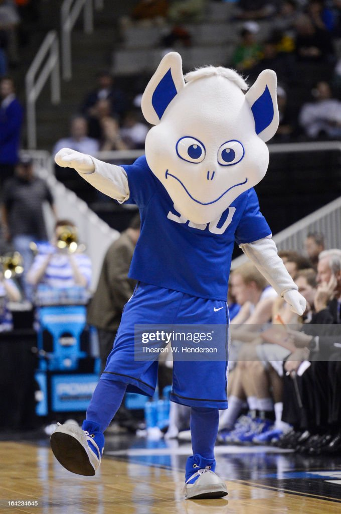 The Saint Louis Billikens mascot performs in the second half against the New Mexico State Aggies during the second round of the 2013 NCAA Men's Basketball Tournament at HP Pavilion on March 21, 2013 in San Jose, California.