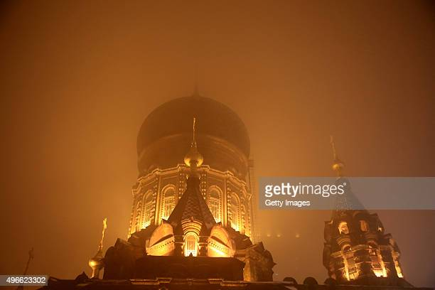 The Saint Sophia Cathedral is shrouded in the dense smog on November 10 2015 in Harbin Heilongjiang Province of China Heavy air pollution occurred...