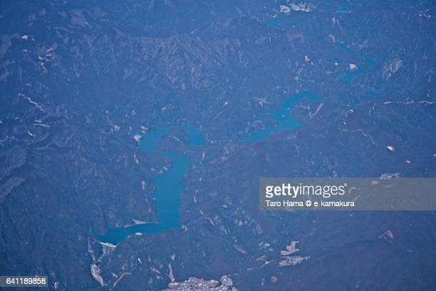 The Sakuma dam aerial view from airplane