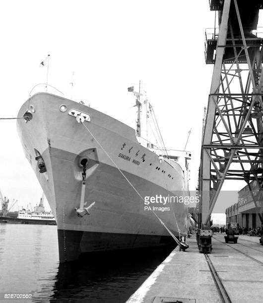The Sakura Maru 688tons first ship in the world designed specifically to be a floating fair pictured moored at No1 Shed Tilbury Dock Essex